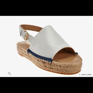 G.I.L.I espadrille sandals in white and denim.